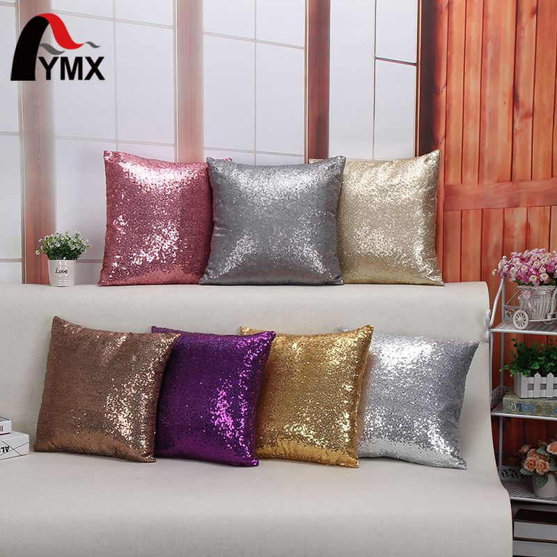 Wholesale Cushion Cover Glitter Sequin Throw Pillow Cases Cafe Cushion Covers Car Seat capa poszewki na poduszki dekoracyjne Hot