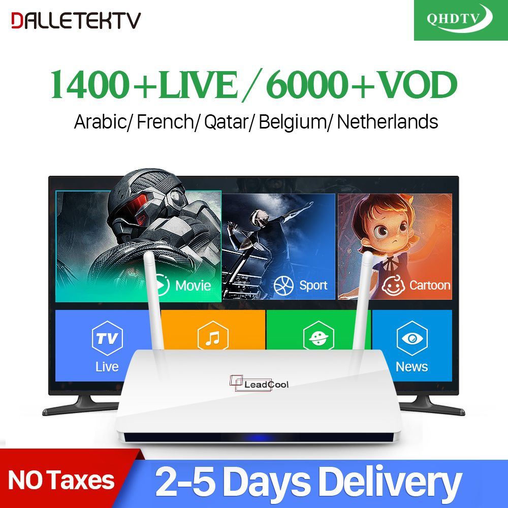 Leadcool QHDTV IPTV Box 1 Year Code IPTV Europe French Belgium Dutch Dalletektv Android Smart TV Box Arabic IPTV Top Box