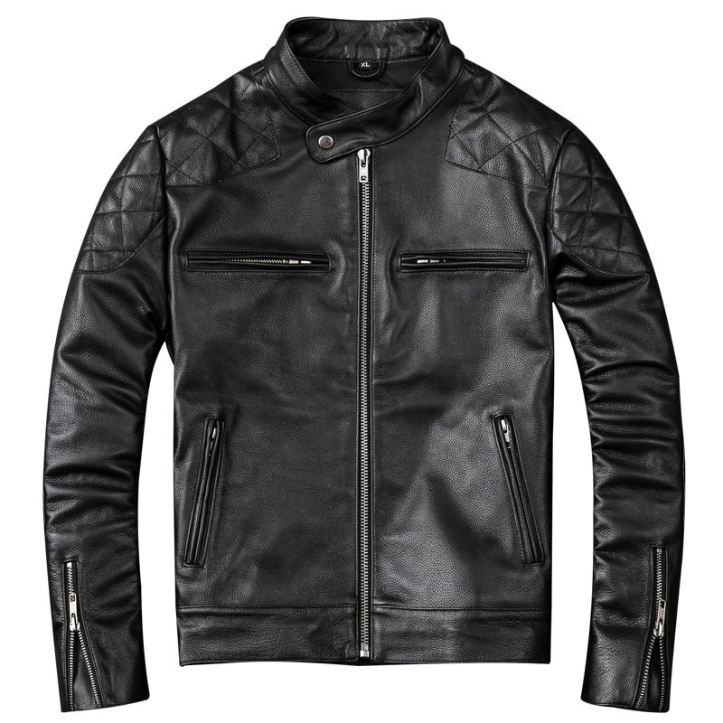 2019 schwarze Männer Echtes Biker der Leder Jacke Plus Größe XXXL Dicken Rindsleder Slim Fit Kurze Motorrad Leder Mantel FREIES VERSCHIFFEN