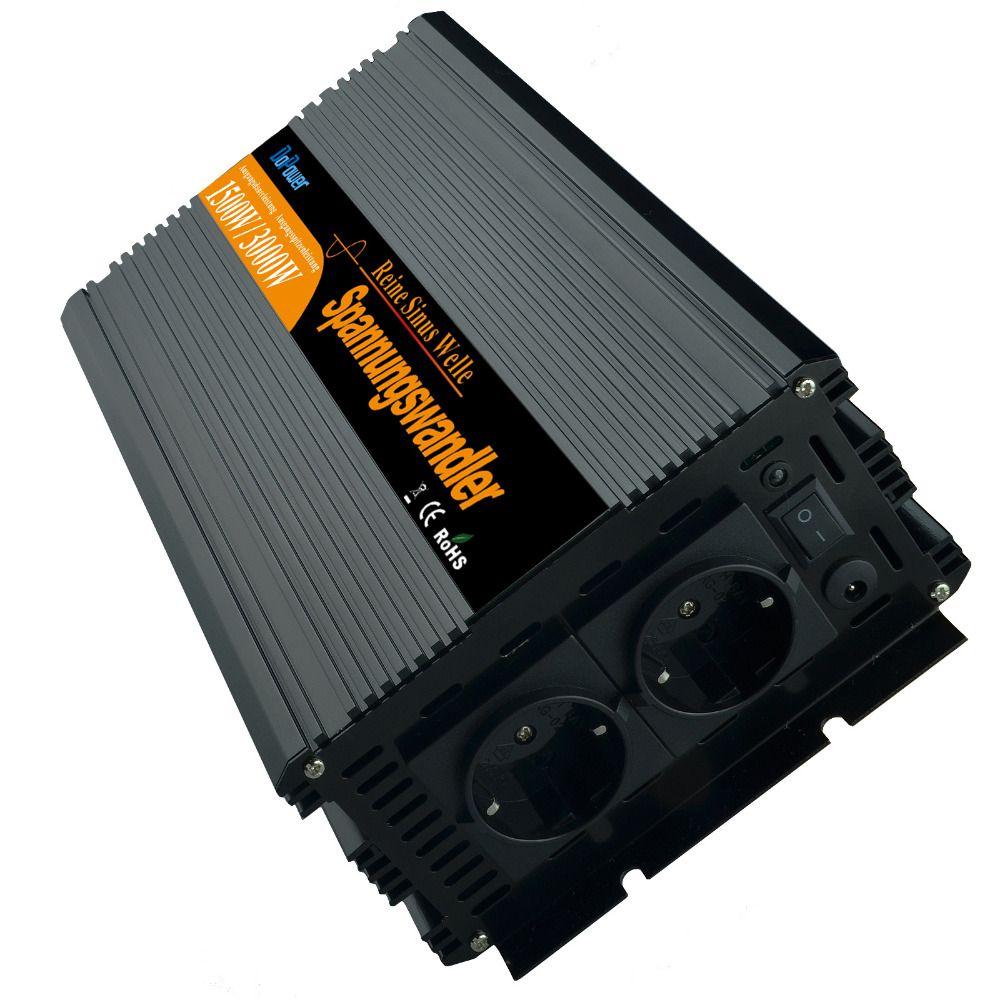 power inverter pure sine wave DC12v to AC 220v 1500w/ Peak 3000watt Converter For Solar/wind/gas