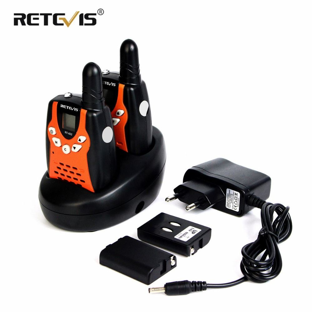 2pcs Children Walkie Talkie For Kids Retevis RT602 0.5W PMR PMR446 FRS PTT VOX Flashlight Rechargable Battery 2 Way Radio RT-602