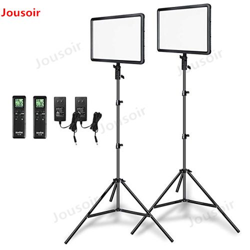 Godox 2pcs LEDP260C Ultra-thin 30W 3300-5600k LED Video Light Panel Lamp with 2pcs 2m Light Stand for Video Studio Lights CD50