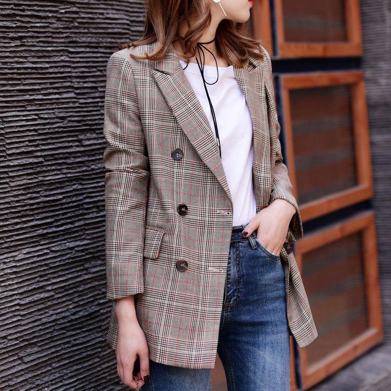 2017 New Plaid Formal Suits for Women Fashion Newest Designer Blazer Women's Long Sleeve Jacket J17CA2005