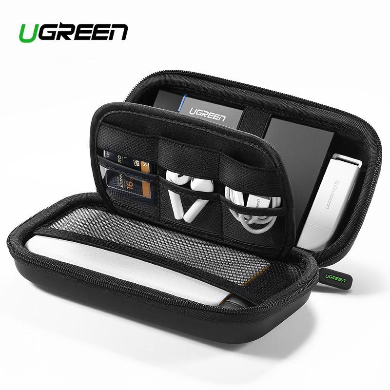 Ugreen housse de batterie portative Boîte étui rigide pour 2.5 disque dur câble usb stockage externe Portant SSD HDD Cas