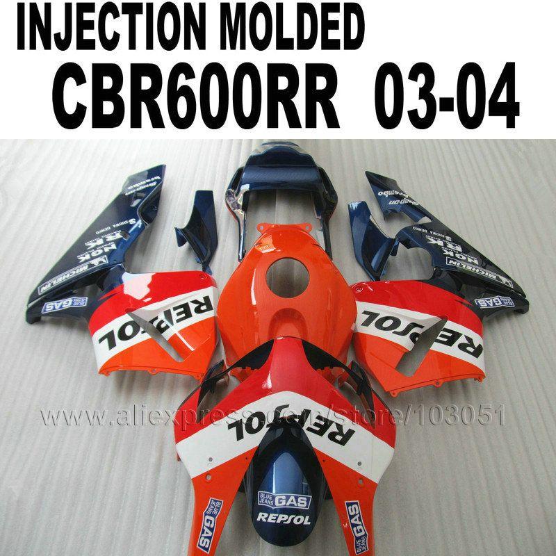 ABS plastic Injection fairing kits for Honda repsol  CBR600RR 2003 2004 CBR 600 RR 03 04 cbr600 orange blue fairings kit