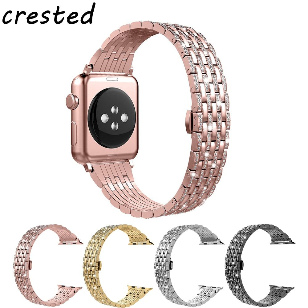 CRESTED stainless steel watch band strap for apple watch 42mm/38 watchband Butterfly buckle diamond strap for iwatch 1/2/3