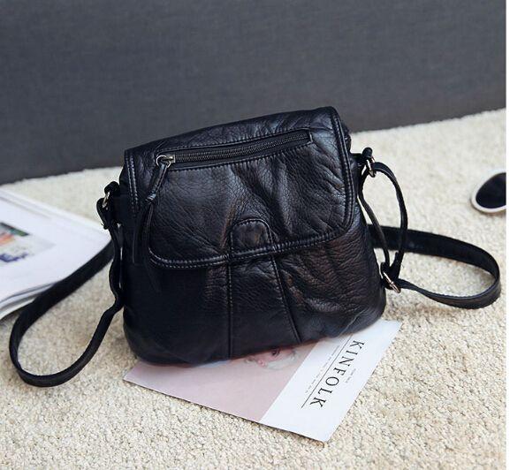 Moda pequeño bolso de cuero suave de la PU casual mensajero del hombro pequeño bolso femenino negro d6569