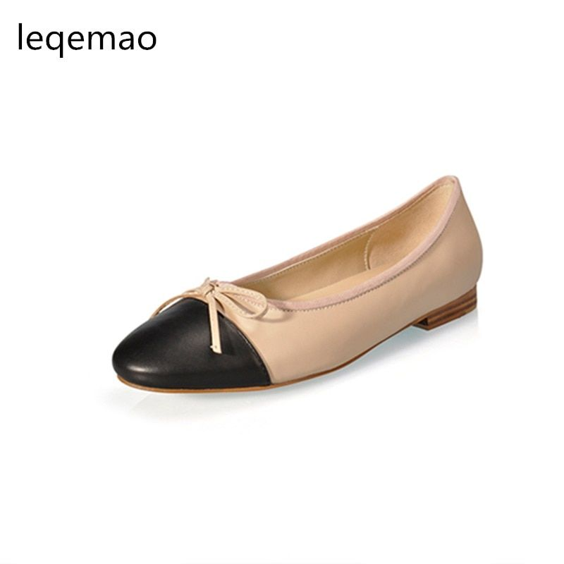Big Sale New Spring Autumn Fashion Women Shoes High Quality Genuine Leather Luxury Brand Bowtie Casual Ballet Flats Shoes 34-42