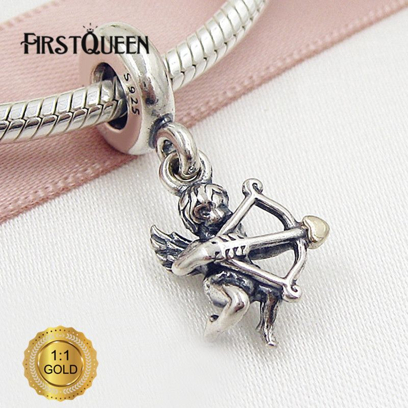 FirstQueen Solid Silver & Gold Cupid Pendant Charm Bead Fit Bracelets DIY Pendants Jewelry Making Fine Jewelry