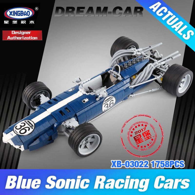 XINGBAO 03022 Genuine 1758PCS The Blue Racing Car Set Building Blocks Bricks Educational Funny Toys DIY Birthday Gifts For Kids