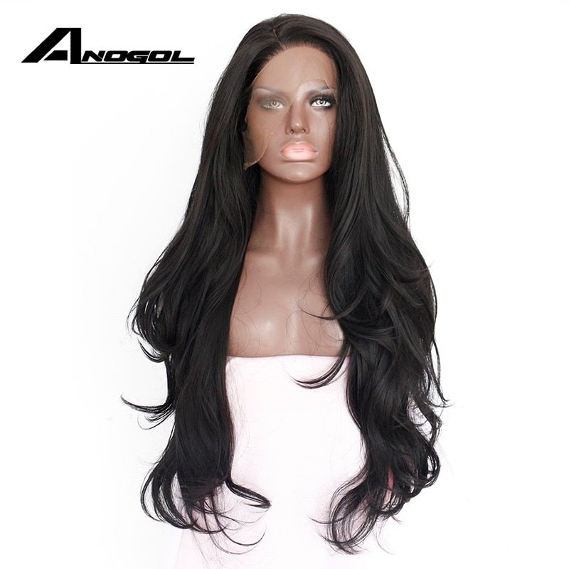 Anogol Natural Hairline Glueless High Temperature Fiber Hair Wigs Swiss Long Wavy 1# Black <font><b>Synthetic</b></font> Lace Front Wig for Women
