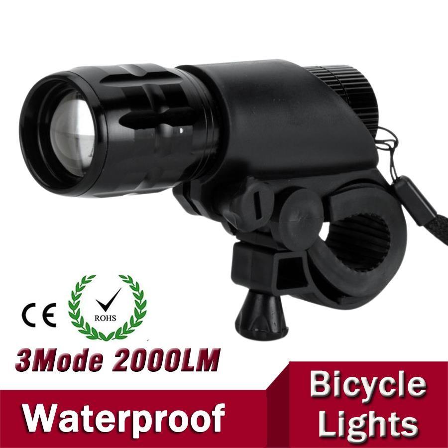 7 W Q5 LED 2000lm aluminium étanche IP6 AAA batterie avec support avant vélo vélo vélo lumières lampes lanterne lampe de poche