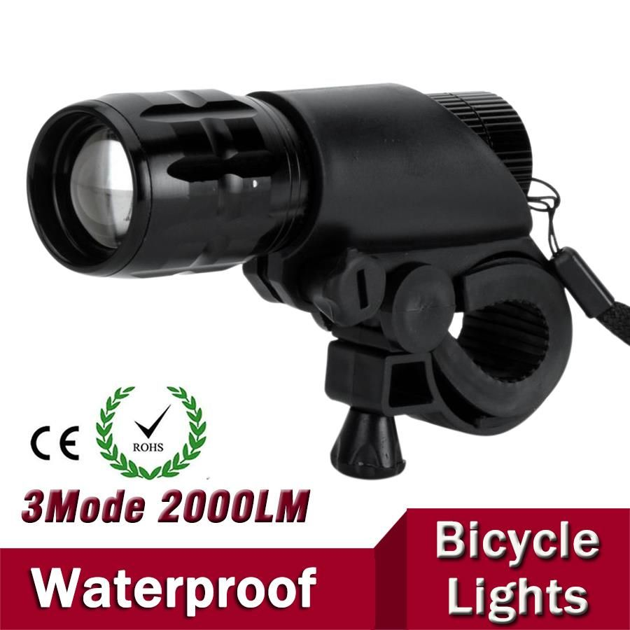 7W Q5 LED 2000lm Aluminum Waterproof IP6 AAA Battery with Holder Front Cycling Bike Bicycle Lights Lamps Lantern Flashlight