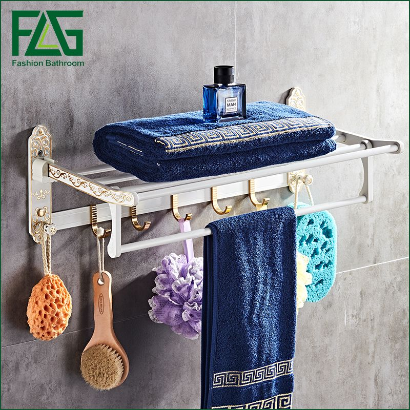 FLG Space aluminum Bath Towel Rack Folding Movable bathroom towel rack Wall Mounted Activity 5 hook Bathroom Hardware