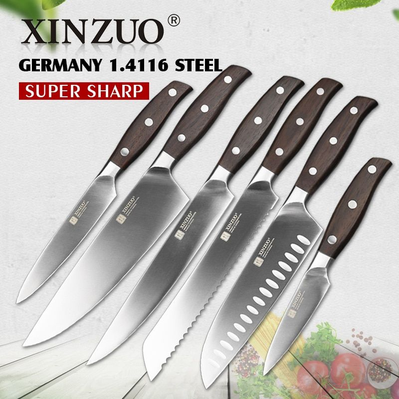 XINZUO Kitchen Tools 6 PCS Kitchen Knife Set of Utility Cleaver Chef Bread Knife High Carbon German Stainless Steel Knives sets