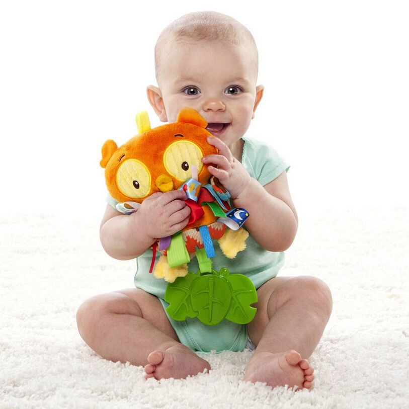 Taggies Multi-touch Colorful Owl Tags Baby Toy Rattle Teether Multifunctional Infant Plush Toys Baby Placate Toy Gifts