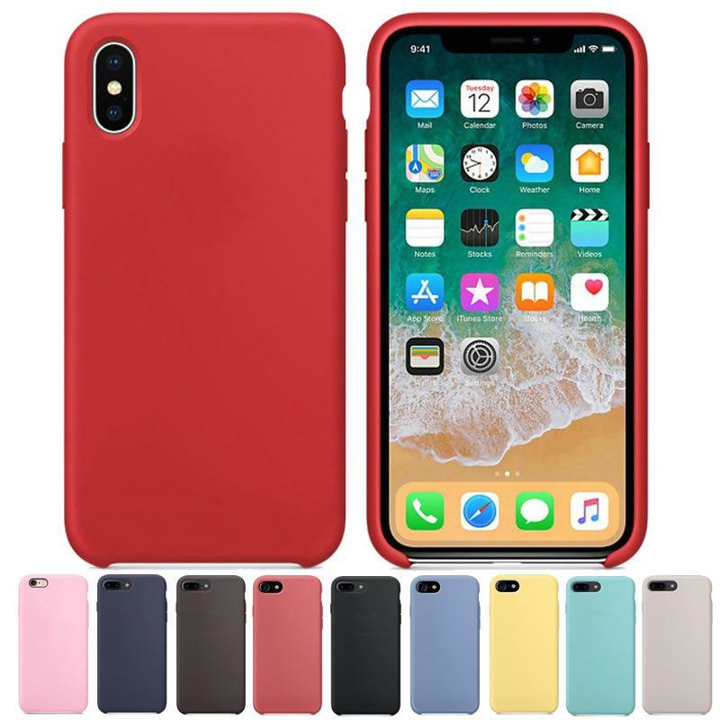 D'origine Ont LE LOGO Officiel Cas Silicone pour iPhone X 8 7 6 6 s Plus Téléphone Couverture De Silicium Cas Pour iPhone 6 6 s Avec Détail boîte
