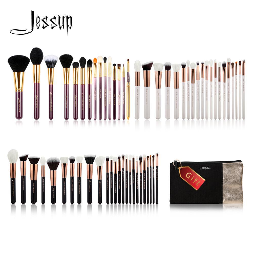 Jessup Buy 3 get 1 gift Makeup Brushes set Foundation Powder Make up Brush Tools Eyeshadow Eyeliner Lip Cosmetics Bag Travel