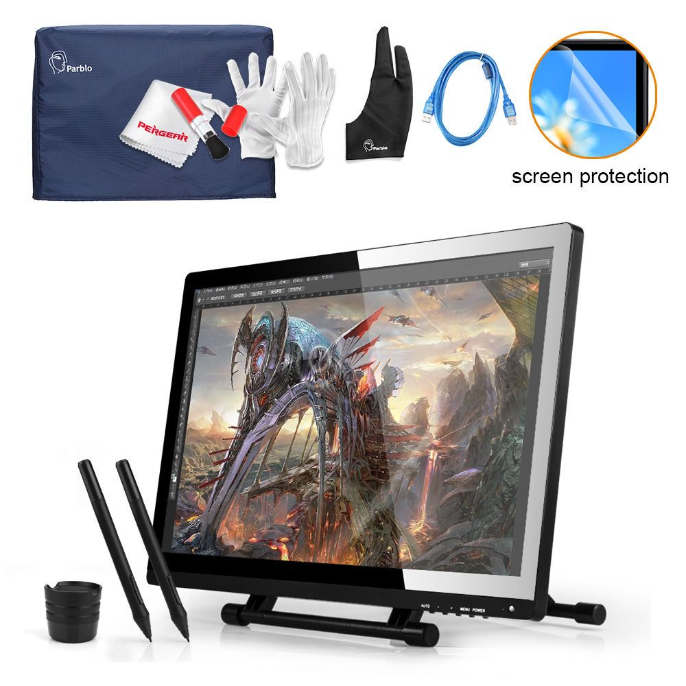 UGEE 21.5 IPS LED Art Design Graphic Tablet Monitor 1920x1080  Drawing Board +Parblo Monitor Protector Cover+Glove +USB Cable