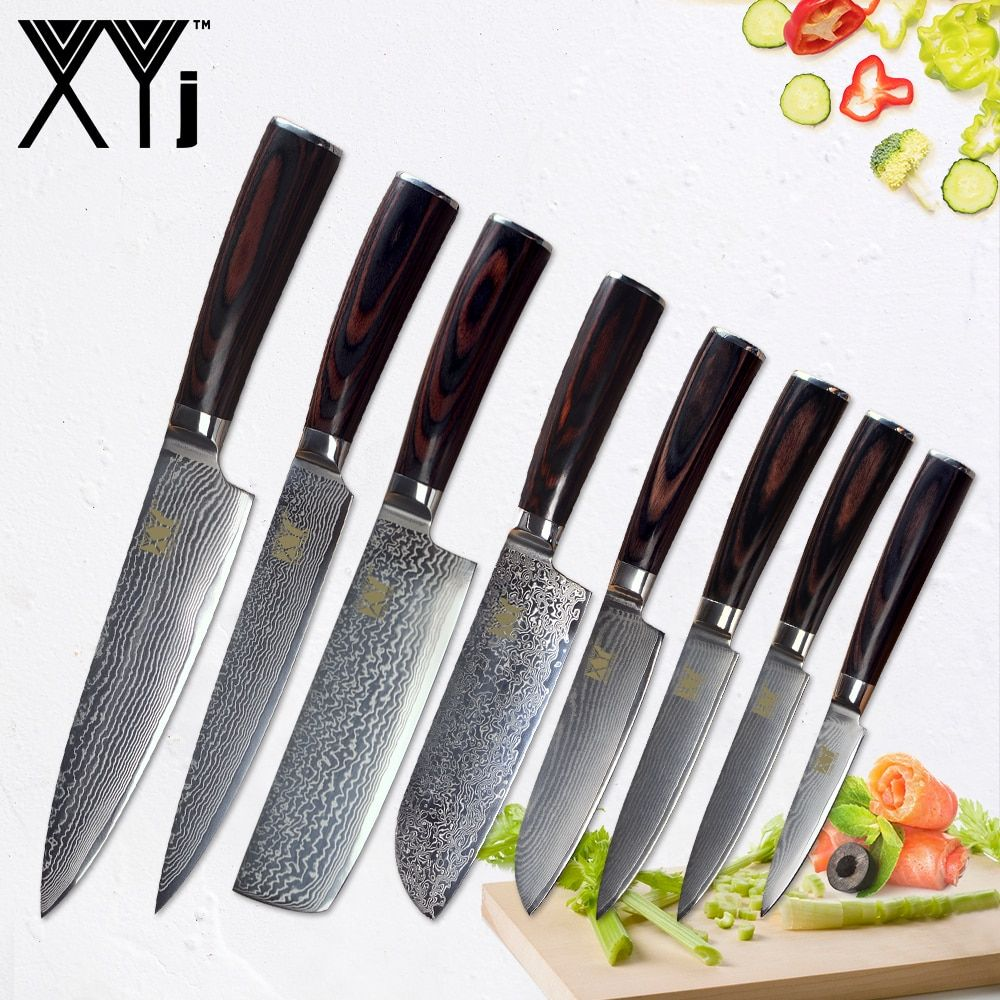 XYj Damascus Chef Cook Knives Wood Handle Japanese Kitchen Knives VG 10 Damascus Steel Kitchen Cooking Knife Aceessories Tools