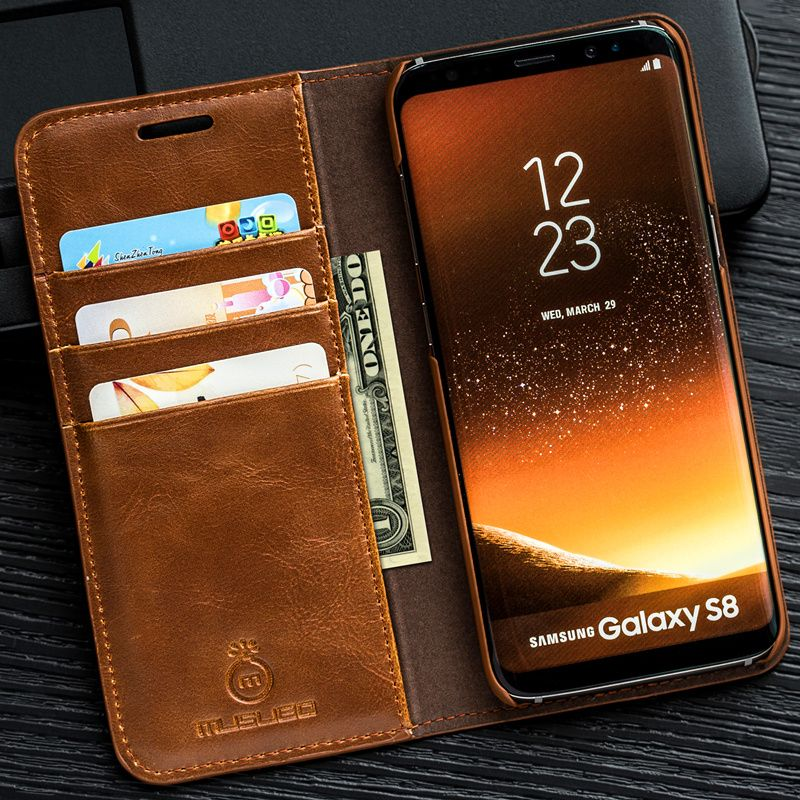 Musubo Luxury Stand Leather Case For Samsung Galaxy S9 Plus S7 Edge S8 Note 9 8 cover coque capa for iPhone X 8 Plus 7 6 6s 5s 5
