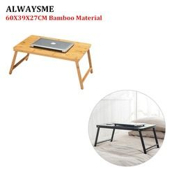ALWAYSME New Bamboo Material Foldable Laptop Notebook Lap PC Folding Desk Computer Desk Portable Table Vented Stand Bed Tray