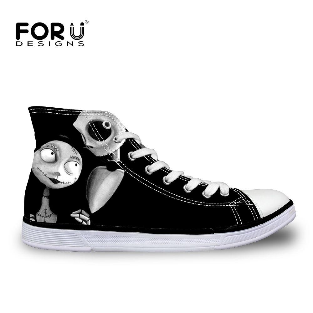 Forudesigns Винтаж черного цвета в стиле панк с принтом черепа вулканизированной Обувь для дам Повседневное Для женщин высокая парусиновая обув...