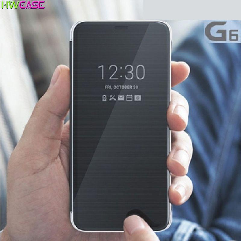 Intelligent Rapide Couverture Pour LG G6 Cas Vue Visuel Fonction Flip Pu Étui En Cuir Pour LG G6 Sommeil Fonction Coque PC Retour couverture