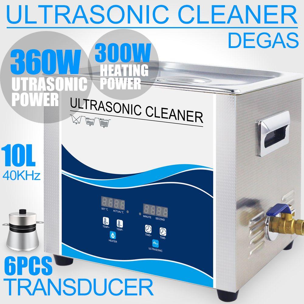 360 W Ultraschall Reiniger 10L Bad Degas Ultrasonido Reinigung für Kugeln Shell Motor Teile Filter Labor Injektor Entfernen Öl Rost