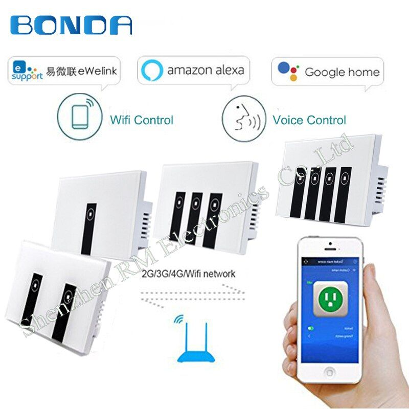 BDNOA US standard 1 2 3 sets of wall touch switch tempered glass panels remote control via smartphone wifi, cooperation with Al
