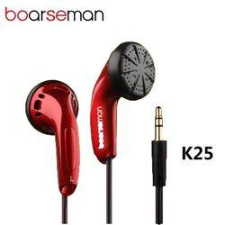 Boarseman K25 In-Ear Earphone HIFI Musik Headset Kepala Datar Kebisingan Membatalkan Earbud 3.5 Mm Stereo Bass untuk Ponsel Auriculares