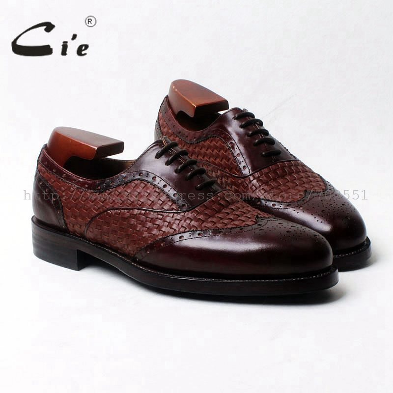 cie round toe wingtips brown weave mixed colors 100%genuine calf leather men's shoe goodyear welt bespoke leather man shoe OX540
