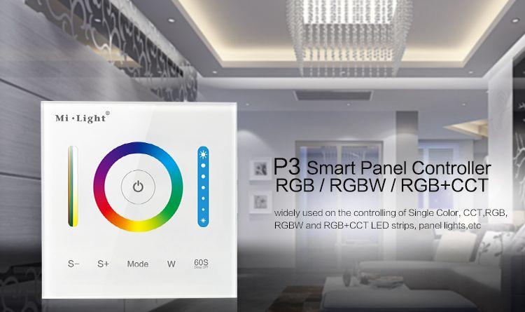 Milight P3 Panneau Contrôleur RVB RGBW RVB + CCT LED Tactile Interrupteur Panneau Contrôleur Led Dimmer pour Led Bande, panneau Lumière DC12v-24v