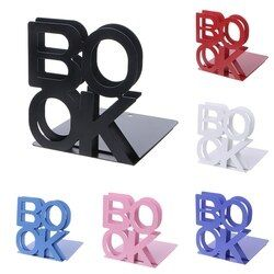 Alphabet Shaped Metal Bookends Iron Support Holder Desk Stands For Books 12#25