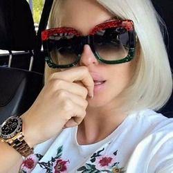 OUTEYE De Luxe Surdimensionné Carré lunettes de Soleil Femmes Rétro Marque Designer Grand Cadre Lunettes de Soleil Femme Lunettes de Sol Femne Lunettes