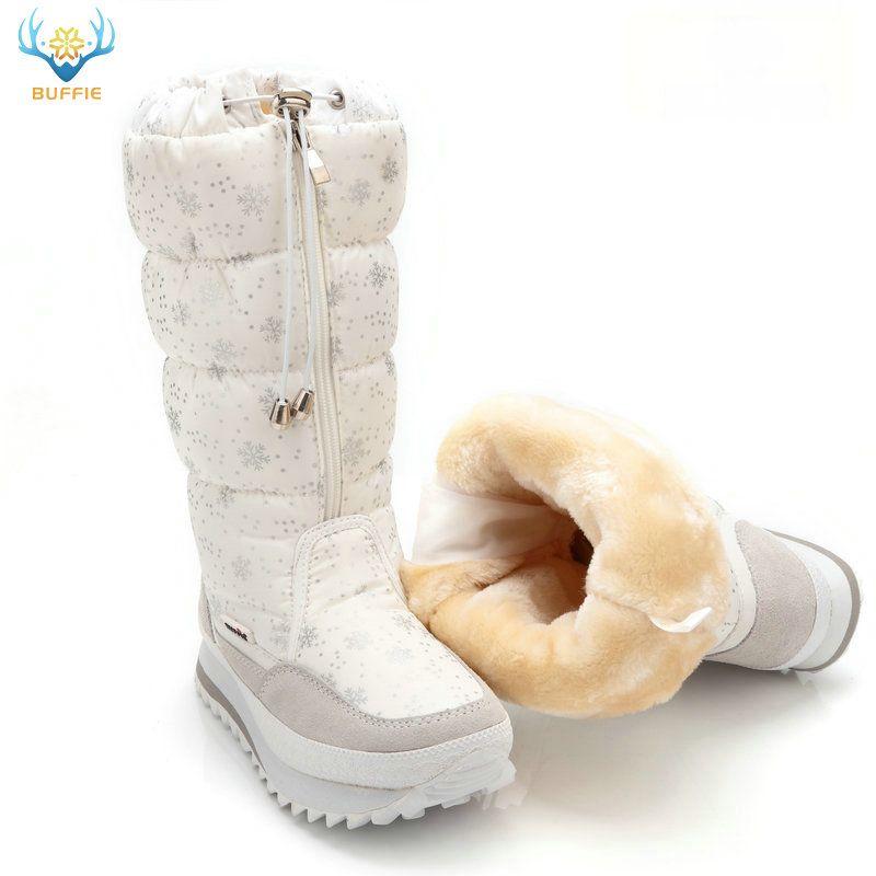 2018 Hiver bottes de Haute Femmes bottes de neige chaussures chaudes en peluche grande taille 35 à grand 42 facile porter fille blanc zip chaussures femme chaude bottes