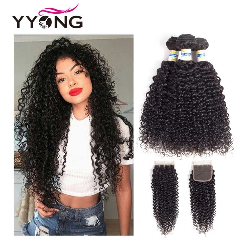 Yyong Brazilian Kinky Curly Bundles With Closure 3 Bundles Human Hair With Closure Mink Hair Weave Bundles With Closure Non Remy