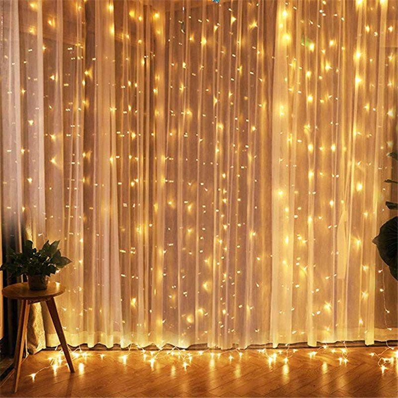 3x3 guirlande LED fée lumière Plug EU guirlande rideau LED chaîne lampe noël extérieur/intérieur décoration pour noël mariage Hallowen