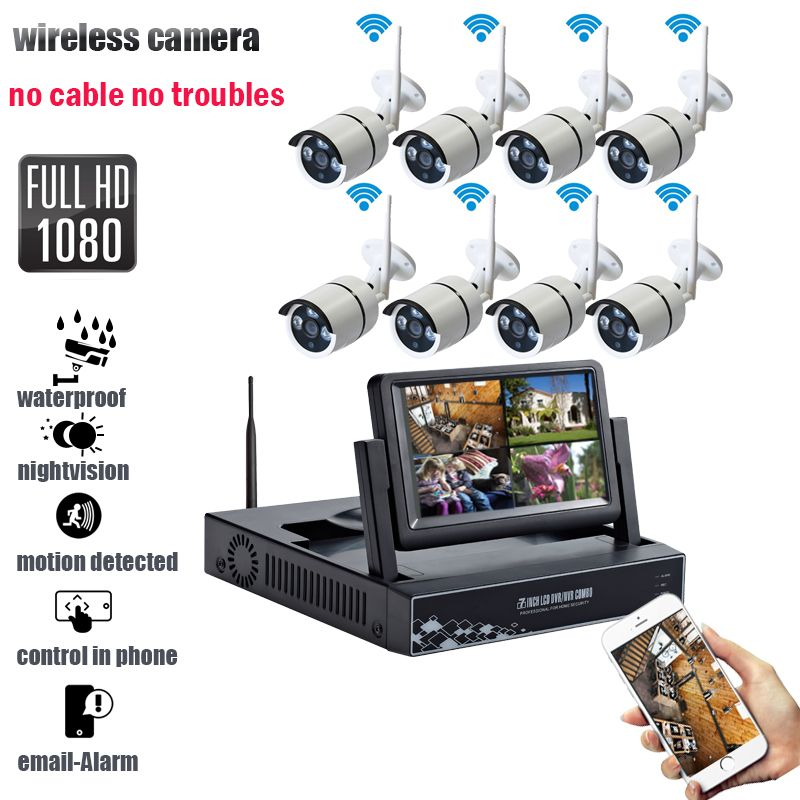 8CH IR 2MP Home Security Wireless NVR IP Camera System 1080P HD CCTV Set Outdoor Wifi Cameras Video NVR Surveillance CCTV KIT