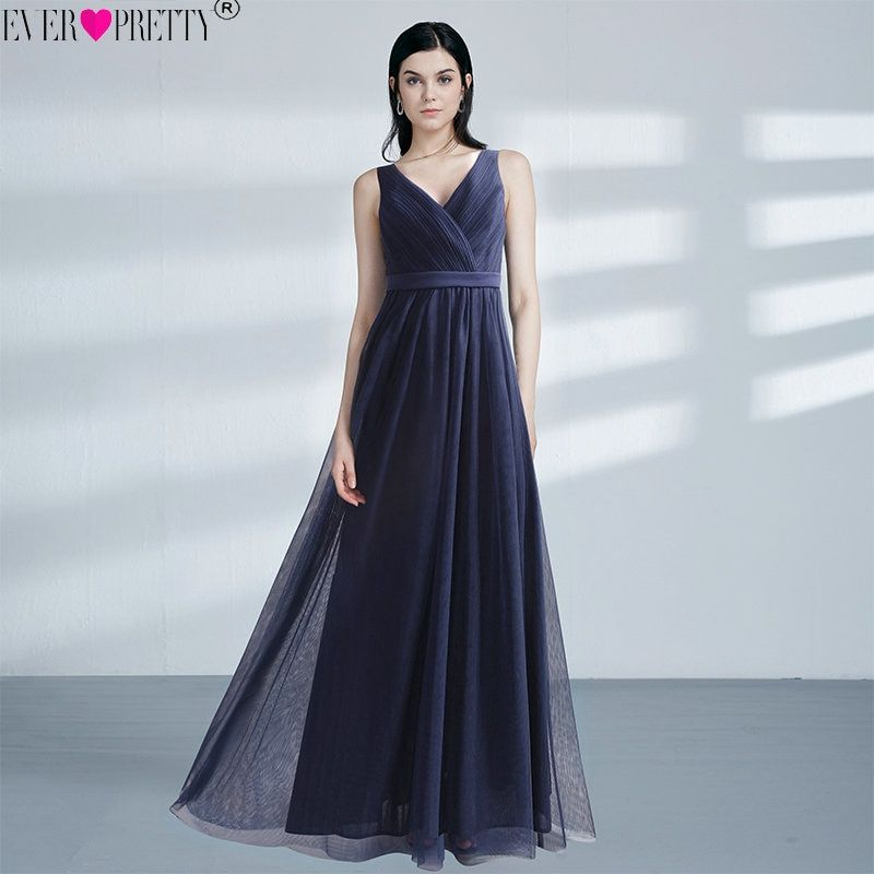 Elegant Navy Blue V-Neck Evening Dresses Long Ever Pretty EZ07602NB Pleated See Through Back Formal Dress Tulle Lace Party Gowns