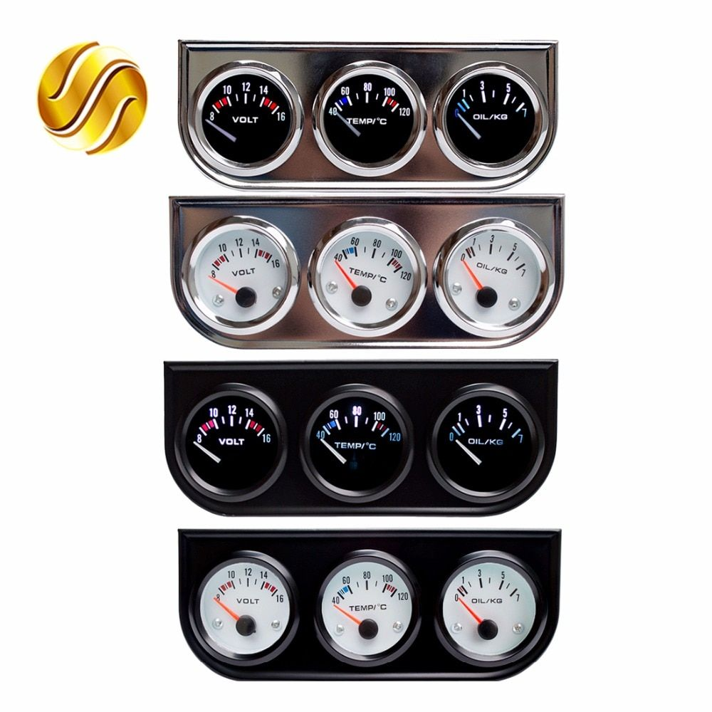 Dragon Gauge Car Triple Guage 52mm Voltage / Water Temp (Celsius or Fahrenheit) Oil Press Black / Chrome Bezel 3-In-1 Kit Meter