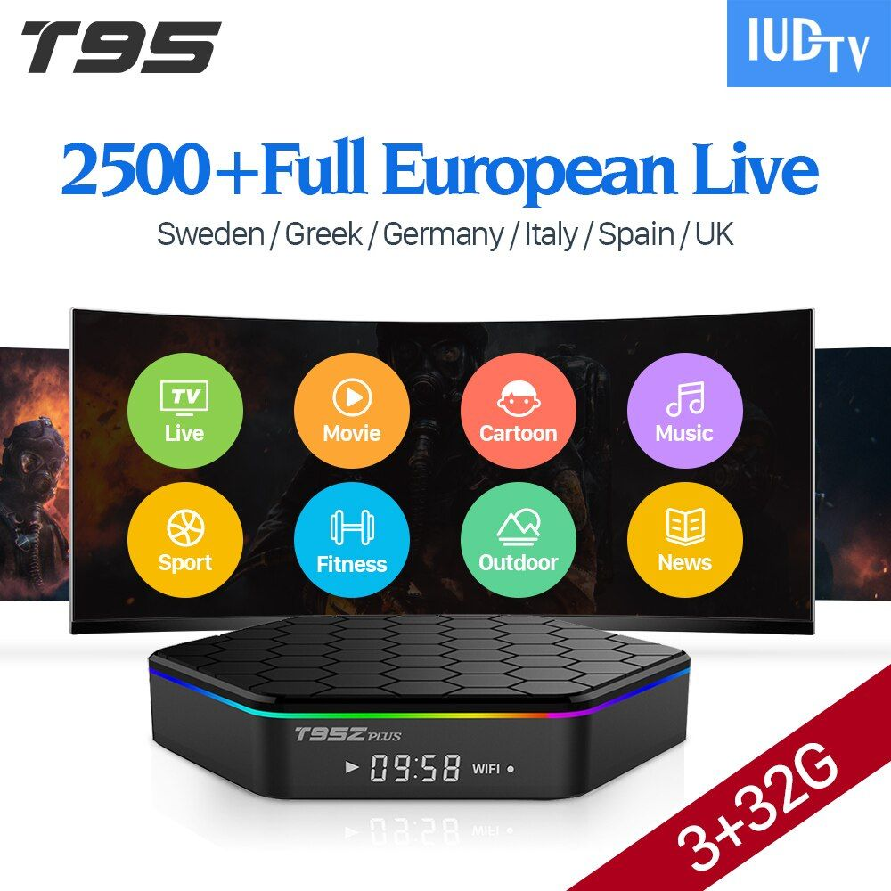 [Подлинный] t95z плюс 32 ГБ Android 7.1 ТВ IP коробки ТВ 1 год ВМС ТВ подписки IP ТВ европа шведский французский Italia Арабский IP ТВ top box