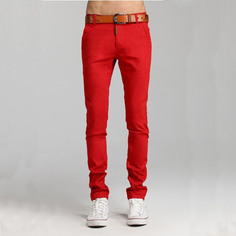 2017 New Mens Candy Color Red Green White Yellow Blue Khaki Black Slim Pants Men Skinny Size 29-36 Fashion Trousers Pencil Pants