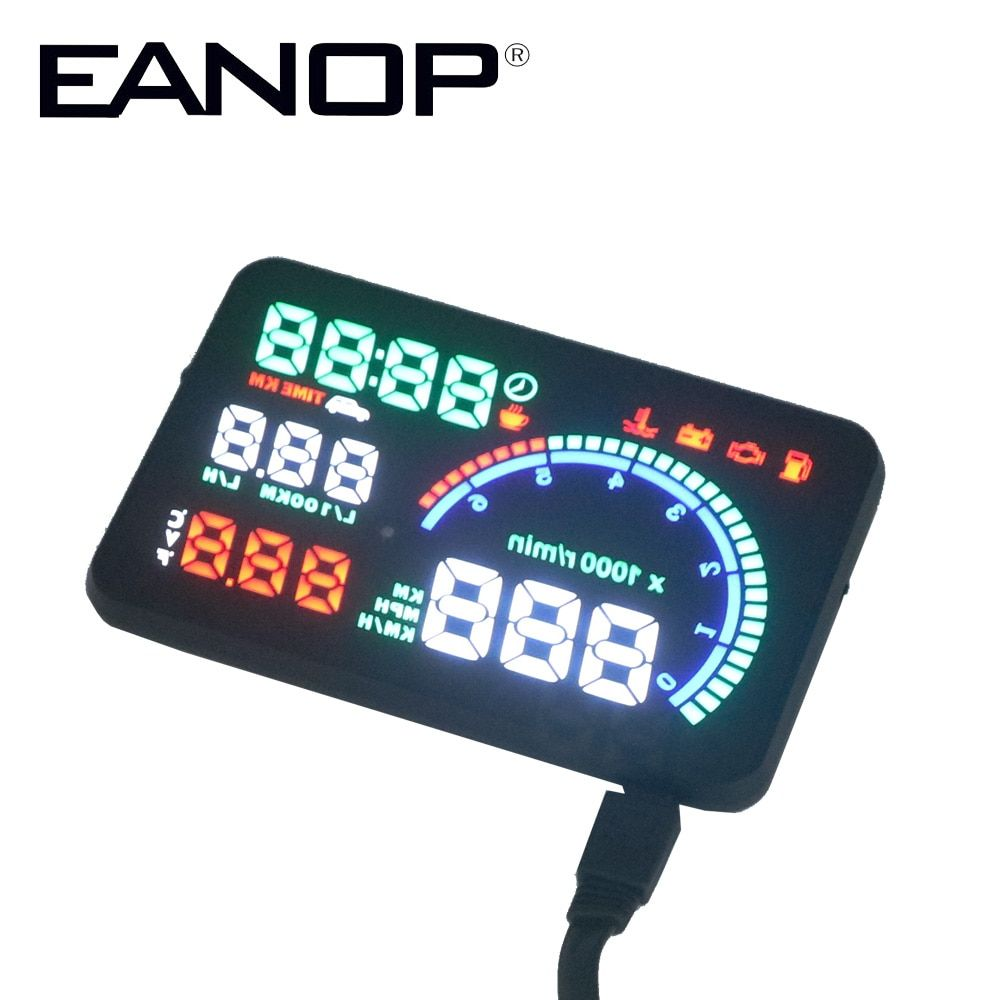 EANOP 5.5X HUD Headup Display Car Speed Projector Dashboard Windshield Projector Head OBD2 fuel Overspeed KM/H,RPM Clock