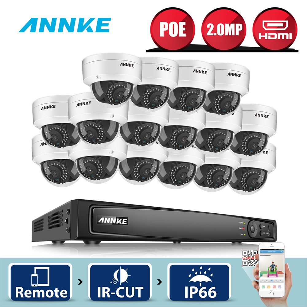 ANNKE 16CH 6MP POE NVR 16pcs 2MP Outdoor Weatherproof Smart Search IR Home Security Camera System CCTV Video Surveillance Kit