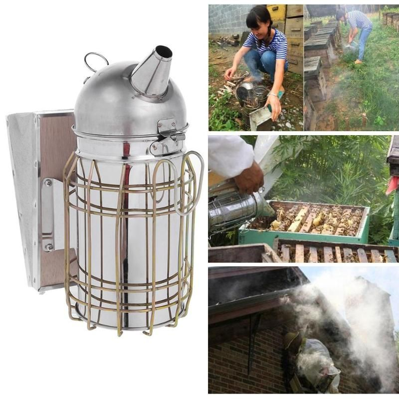 Bee Hive Smoker Beekeeping Smoke Transmitter Stainless Steel with Heat Shield Protection Beekeeping for Subduing Driving Bees