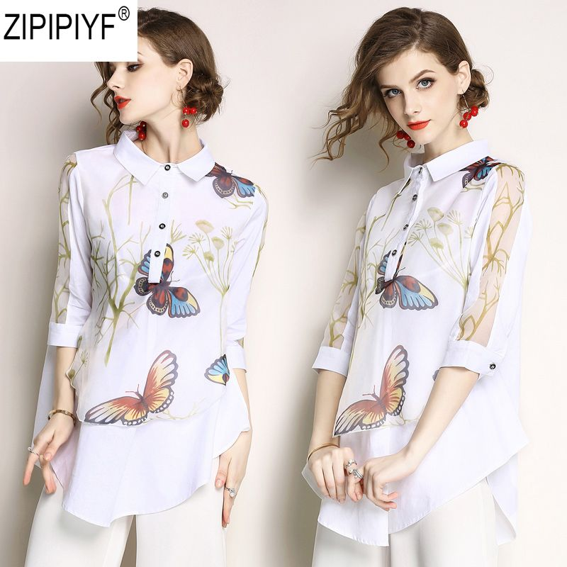 2018 Printed Blouse Women Office Ladies Style Flower Shirt 3/4 Sleeve Turn Down Collar Ladies Top Casual Blouse Femininal C1162