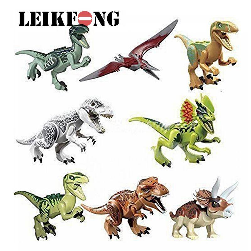 8 pcs/lot dinosaures de Figure jurassique monde film jouet bricolage blocs de construction ensembles modèle jouets enfants cadeaux
