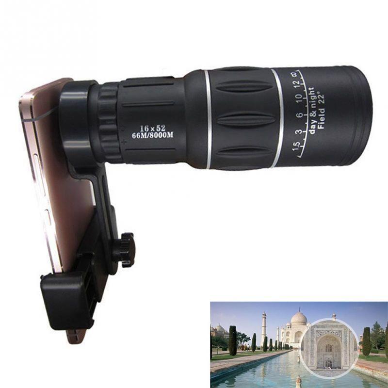 16X52 HD Jour Nuit Vision Dual Focus Téléphone Photo Clip Monoculaire Camping Randonnée Télescope téléphone objectif