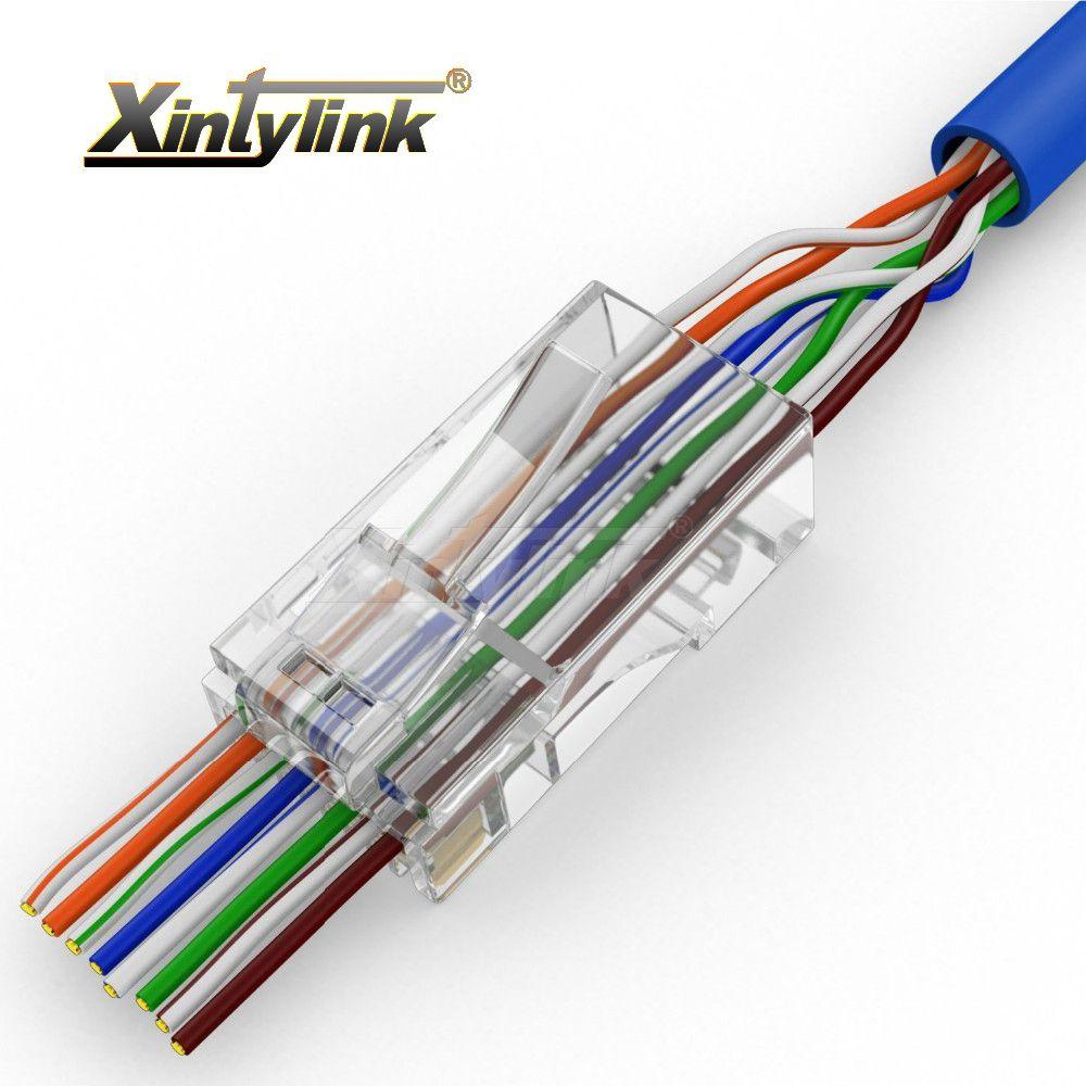 Xintylink EZ rj45 connecteur ethernet câble prise cat5 cat5e rj 45 cat6 terminaux réseau 8p8c non blindé modulaire utp 50 pcs 100 pièces